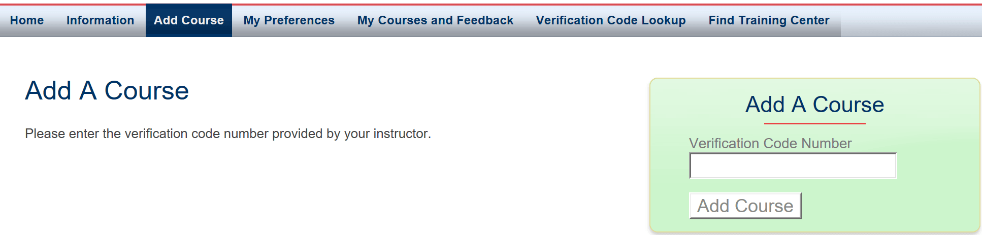 Add a course code on CPRVERIFY